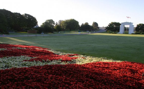 Canadian Flag garden at Peace