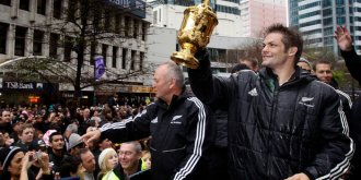 Loading Parades were held in Auckland, Wellington and Christchurch after the 2011 Cup victory. Photo / Sarah Ivey