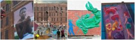 Street art commissioned for the Providence International Arts Festival. From left: a Mary Beth Meehan portrait; a rendering of Dean Avenue, a popup skate and art park; a Tape Art catfish; an Avenue Concept mural.