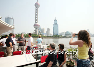Tourists Enjoy their Huangpu River Cruise